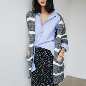 Madewell striped open cardigan sweater